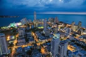 Cartagena colombia in south america aerial view at night